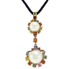 Pearl Sapphire Diamond Silver Gold Pendant