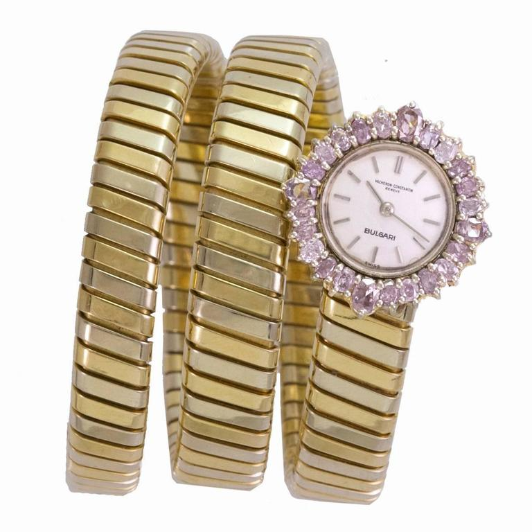 Bulgari Ladies Pink Diamond Framed dial Three Color Gold Tubogas Wristwatch For Sale