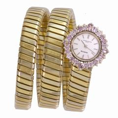 Bulgari Ladies Pink Diamond Framed dial Three Color Gold Tubogas Wristwatch