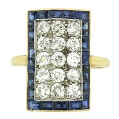 Edwardian Diamond and Sapphire Cluster Ring, circa 1900s
