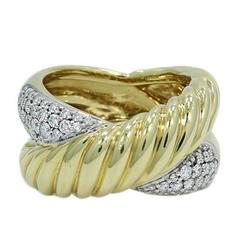 David Yurman Pave Diamonds Yellow Gold Cable Ring