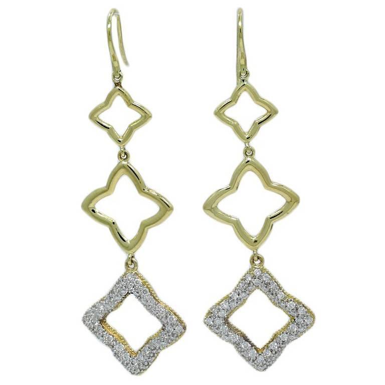 David Yurman Yellow Gold Quatrefoil Earrings With Pave Diamond For