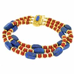 1970s Lapis and Coral Gold Bracelet
