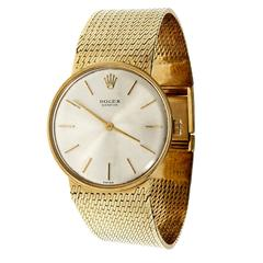 Rolex Yellow Gold Mesh Dress Manual Wind Wristwatch