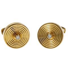 Button Style Italian Diamond Gold Cufflinks