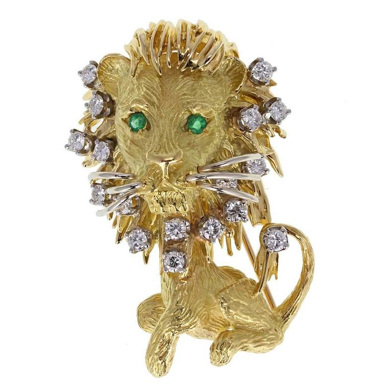 Diamond Set Yellow Gold Lion Brooch