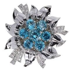 Retro Blue Zircon Diamond Platinum Flower Brooch