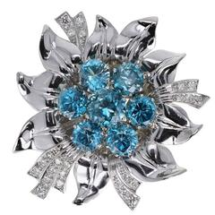 Retro Blue Zircon Diamond Platinum Flower Brooch