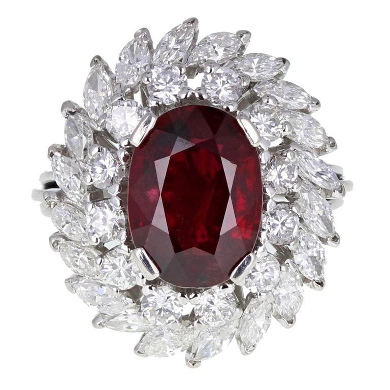 Oval No Heat Ruby Marquise Diamond Platinum Cluster Cocktail Ring