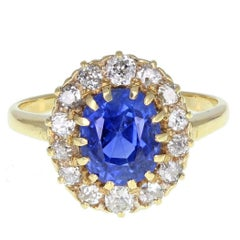Antique Cushion Cut No Heat Ceylon Sapphire Diamond Yellow Gold Ring