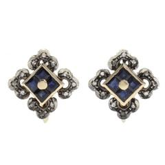 Luise Sapphire Diamond Silver Gold Stud Earrings