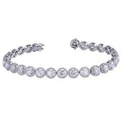 Diamond Gold Halo Tennis Bracelet