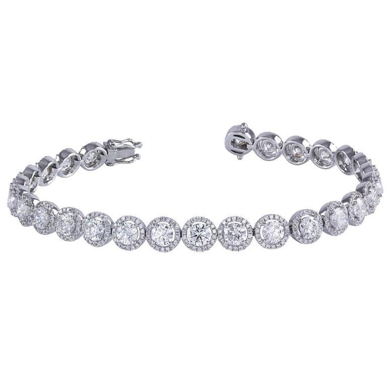 Diamond Gold Halo Tennis Bracelet For Sale