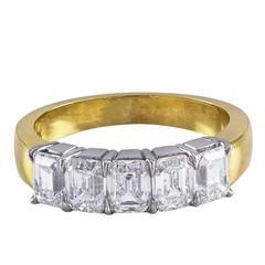 Five-Stone Diamond Yellow Gold Wedding Band Ring
