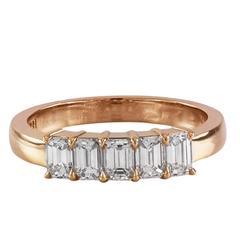 Five-Stone Emerald Cut Diamond Yellow Gold Wedding Ring