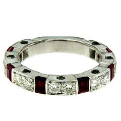 Ruby Diamond Gold Band Ring
