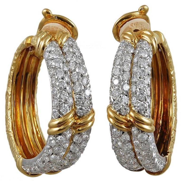 Van Cleef & Arpels Diamond Yellow Gold Hoop Earclips