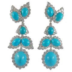 David Webb Turquoise Diamond White Gold Earrings