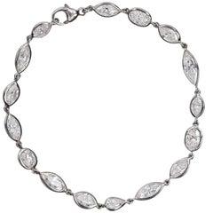 Fancy Cut Diamonds White Gold Tennis Bracelet