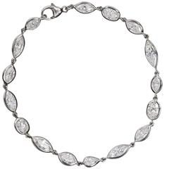 Fancy Cut Diamonds White Gold Tennis Bracelet