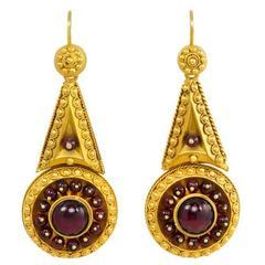 Antique Etruscan Revival Garnet Yellow Gold Earrings
