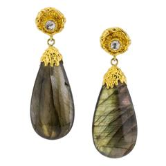 Victor Velyan Labradorite Gold Earrings