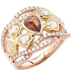 3.08 Carat Fancy Colored Diamond rose gold Ring