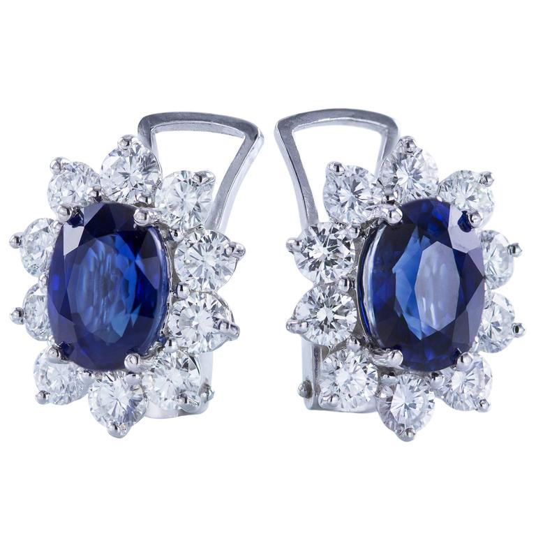 3.96 Carat Blue Sapphire Diamond White Gold Cluster Earrings