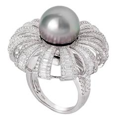 Tahititan Pearl Diamond Baguette Ring and Pendant in One