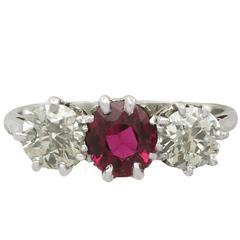 1940s 1.23 Carat Ruby and 1.25 Carat Diamond White Gold Platinum Set Trilogy