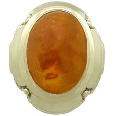 4.61 Carat Amber and Yellow Gold Ring, 1940s