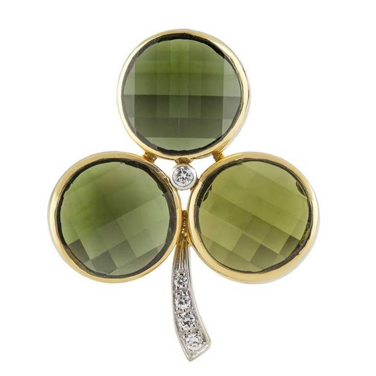 Pomellato Clover Brooch Tourmaline and Diamond Set