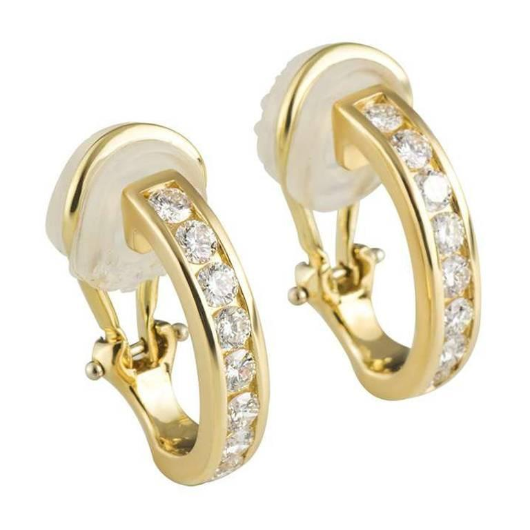 Tiffany & Co. Diamond Set Hoop Earrings 0.96 Carat For Sale