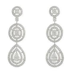 White Gold Diamond Drop Earrings 3.97 Carat