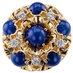 Dankner Lapis Lazuli Diamond Gold Domed Ring