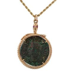 Victorian Ancient Coin Snake Gold Ruby Pendant