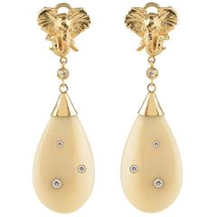 CdG Style Diamond Gold Drop Earrings with Nini Elephant Head Carved Nut Ivory