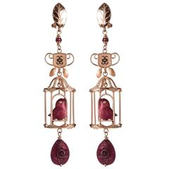 CdG Style Diamond Ruby Gold Carved Red Nut Ivory Birdcage Earrings