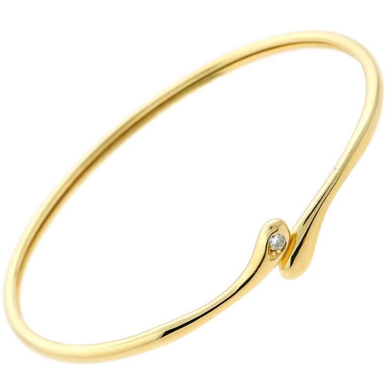 Cartier Diamond Gold Bangle Bracelet For Sale