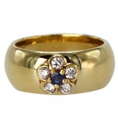 Van Cleef & Arpels Sapphire Diamond Gold Band Ring, 1970s