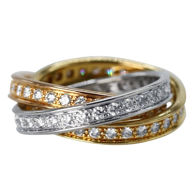 cartier tricolor gold rolling ring at 1stdibs