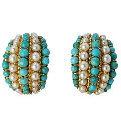 Van Cleef & Arpels Turquoise Pearl and Gold Earclips, 1970s