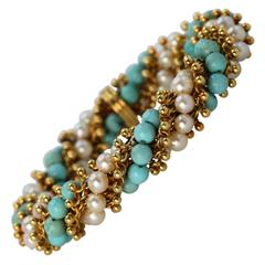 Van Cleef & Arpels Turquoise Cultured Pearl and Gold Bracelet, 1970s