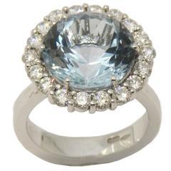 5.98 Carat Brilliant Cut Brazilian Aquamarine Diamond White Gold Engagement Ring