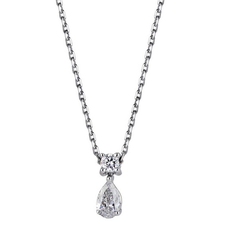 Diamonds Pear and Brillant Shaped and White Gold Pendant Necklace For Sale