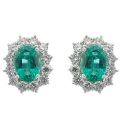 18 Carat White Gold 1.32 Carat Emerald and Diamond Earrings