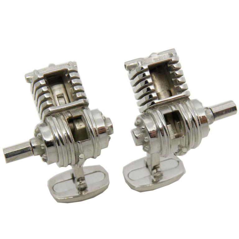 Single-Cylinder Working Engine Sterling Silver Cufflinks T-Bar Back For Sale
