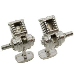 Single-Cylinder Working Engine Sterling Silver Cufflinks T-Bar Back