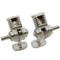 Single-Cylinder Working Engine Sterling Silver Cufflinks T-Bar Back