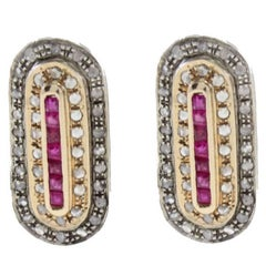 Diamond Ruby Gold and Silver Earrings